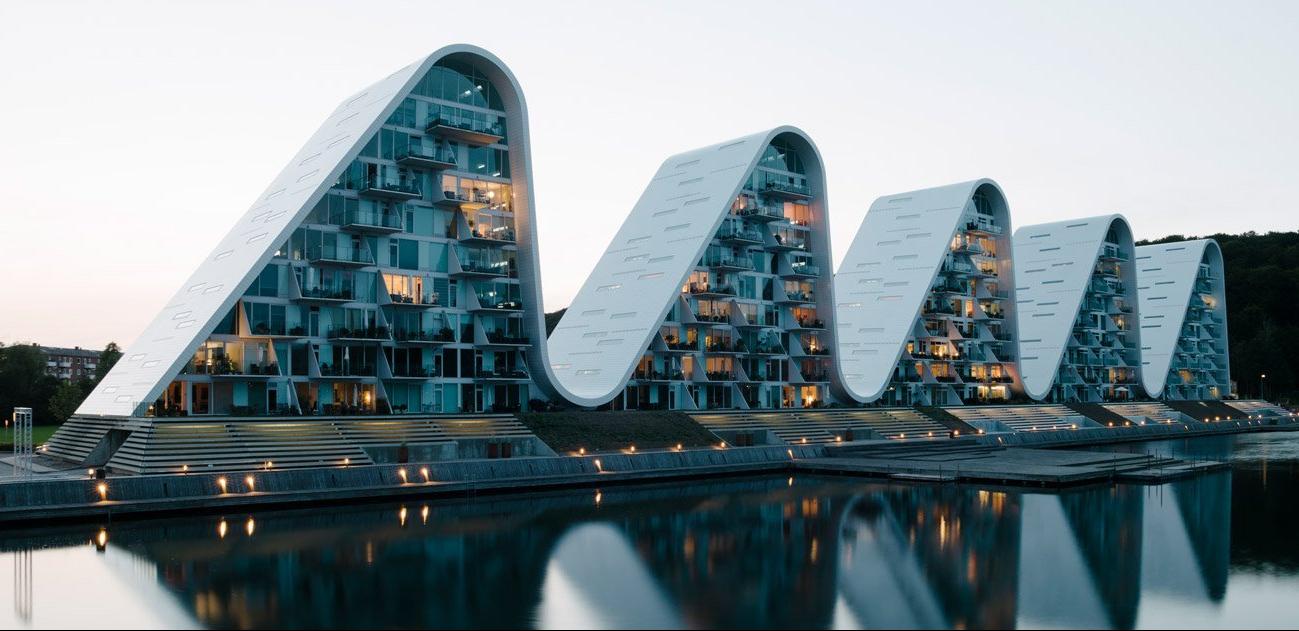 the wave apartemen ombak ikon baru vejle denmark karya Henning Larsen architecture arsitektur apartment waterfro