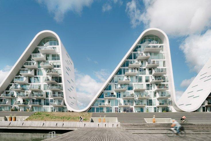 the wave apartemen ombak ikon baru vejle denmark karya Henning Larsen architecture arsitektur apartment waterfront