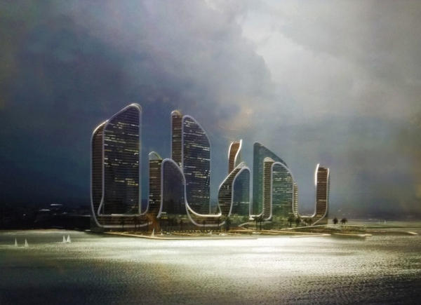 CROWN GROUP DAN KOICHI TAKADA ARCHITECTS PROPOSAL DESAIN IKONIS DI UTARA JAKARTA ICONIC ARCHITECTURE APARTMENT TOWER WATERFRONT