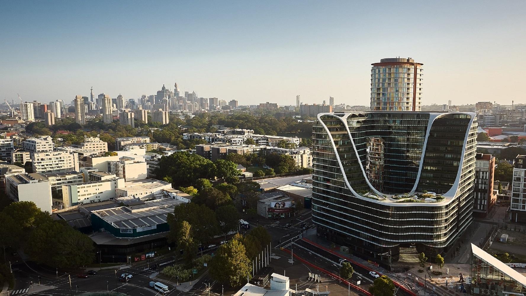 Skye Suites Green Square hotel mewah dalam bangunan ikonik kota Sydney arsitektur interior design architecture